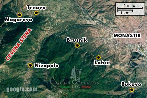 Foreign Legion - Battalion - Balkans - Map - 1917 - Monastir - Crvena Stena - Lahce - Brusnik - Nizopole