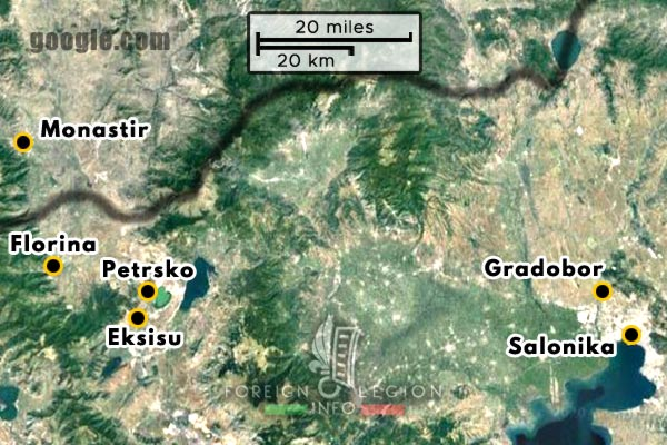 Foreign Legion - Battalion - Balkans - Map - 1917 - Monastir - Petrsko - Eksisu - Gradobor