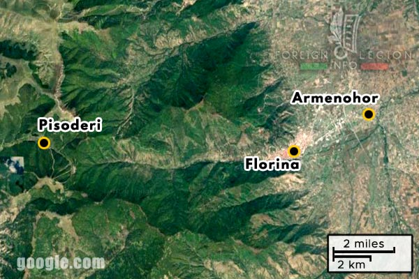 Foreign Legion - Company - Balkans - Map - 1918 - Florina - Armenohor - Pisoderi