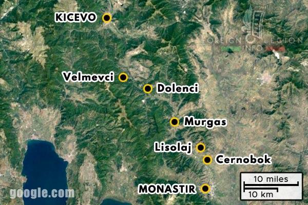 Foreign Legion - Company - Balkans - Map - 1918 - Monastir - Cernobok - Lisolaj - Murgas - Dolenci - Velmevci - Kicevo
