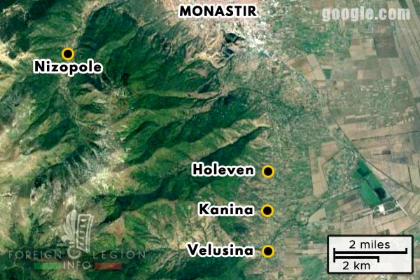 Foreign Legion - Company - Balkans - Map - 1918 - Monastir - Kanina - Holeven - Velusina