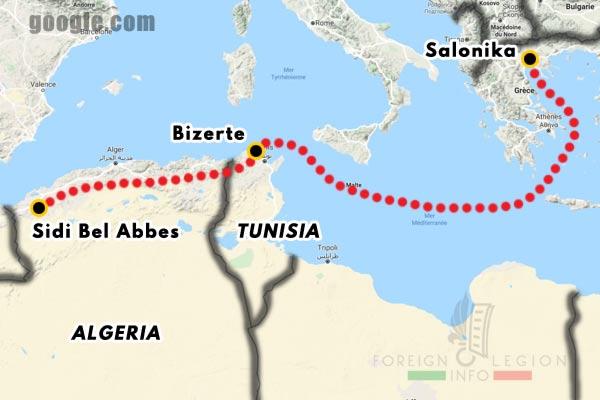 Foreign Legion - Company - Map - 1919 - Salonika - Bizerte - Sidi Bel Abbes