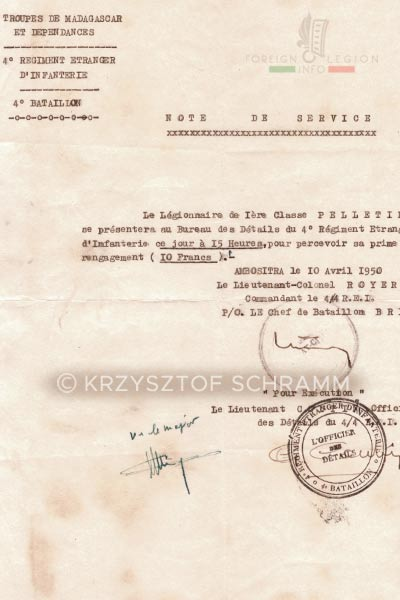 Document - 4th Battalion - 4e REI - 4 REI - Foreign Legion - 1950