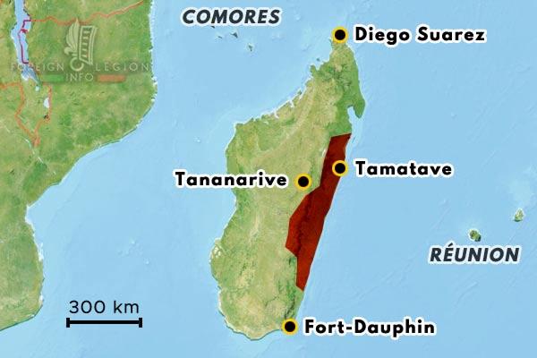 Madagascar - Tananarive - Tamatave - carte