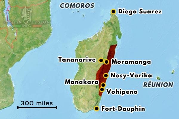Madagascar - Rebellion - 1947 - map